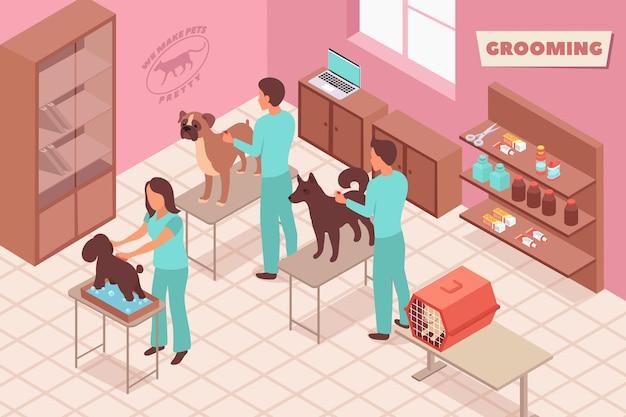 Toelettatura composizione isometrica con vista dell'interno del salone di toelettatura animali domestici con persone e animali domestici sull'illustrazione delle tabelle