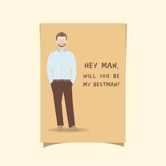 Modello di invito testimoni dello sposo con personaggio ritratto simpatico cartone animato in camicia