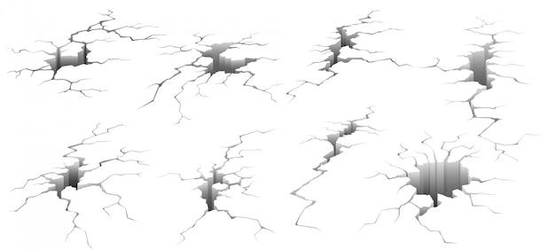 Crepe al suolo. crepa di terremoto, effetto del foro e insieme dell'illustrazione di superficie incrinata