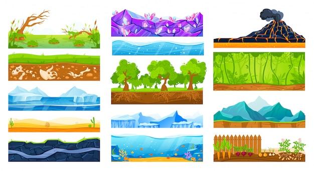 Insieme dell'illustrazione di vettore del paesaggio della superficie del suolo.