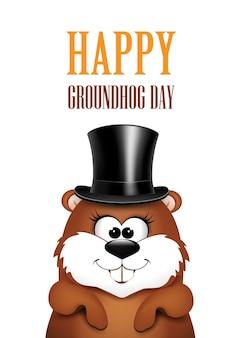 Giorno della marmotta. marmotta su sfondo bianco.