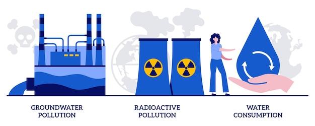 Inquinamento delle acque sotterranee, rifiuti pericolosi radioattivi, concetto di consumo di acqua con persone minuscole. insieme dell'illustrazione di vettore del problema ambientale. rifiuti tossici, inquinante chimico nella metafora del suolo.