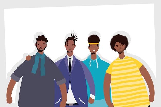 Gruppo di personaggi di uomini afro