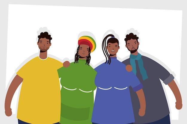Gruppo di personaggi di persone afro