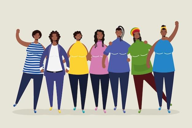 Gruppo di personaggi di donne afro