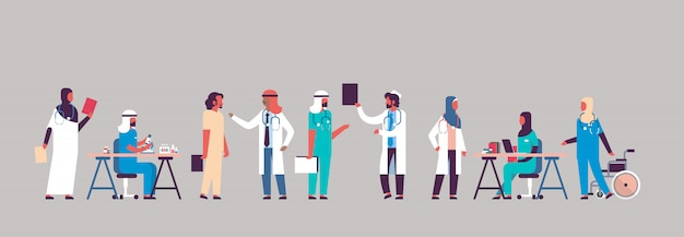 Banner di comunicazione ospedale gruppo medici arabi