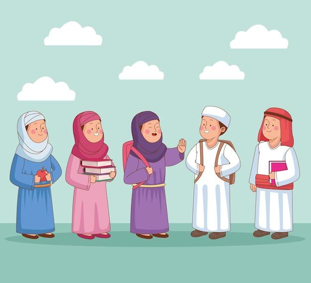 Gruppo di caratteri di studenti arabi