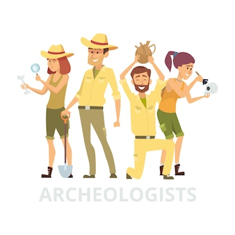 Gruppo di archeologi su sfondo bianco. illustrazione dei caratteri degli archeologi