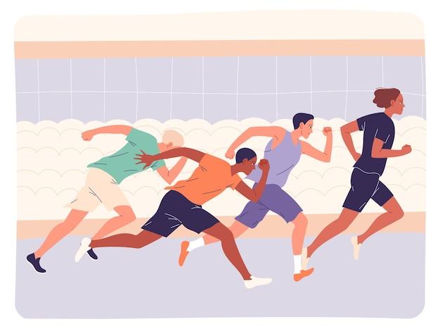 Gruppo di atleti che corrono veloci in allenamento o in competizione.