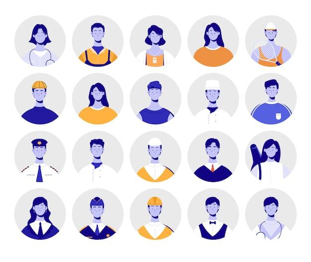 Gruppo di avatar. pacchetto avatar di professione.