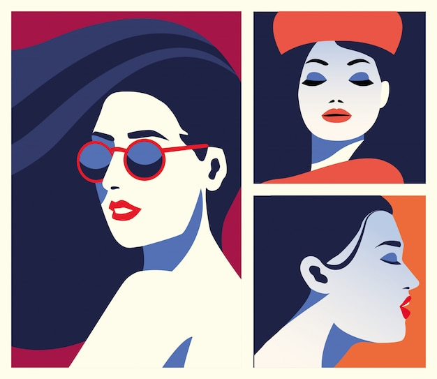 Gruppo di belle donne personaggi alla moda