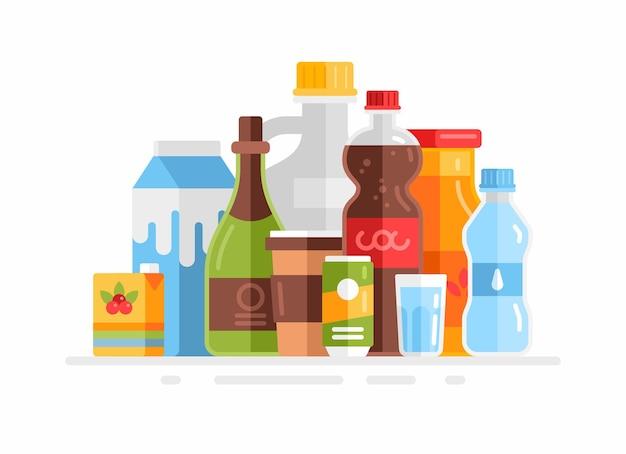 Gruppo di bevande. latte, succo di frutta, soda, acqua, caffè, vino isolato su bianco