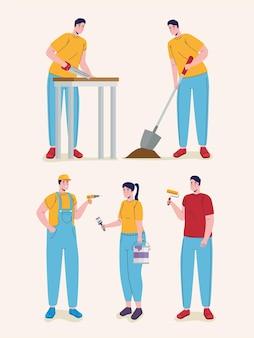 Gruppo di personaggi di lavoratori costruttori costruttori