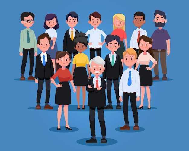 Gruppo di uomini e donne d'affari, persone che lavorano. squadra di affari e concetto di lavoro di squadra. personaggi di persone design piatto.