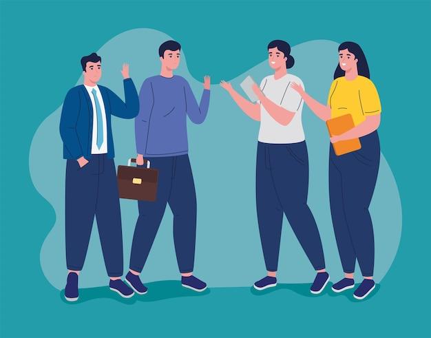 Gruppo di personaggi di avatar di uomini d'affari