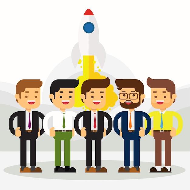 Gruppo di uomini d'affari che celebrano un avvio di successo