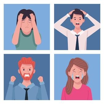 Gruppo di uomini d'affari extressed avatar caratteri illustrazione