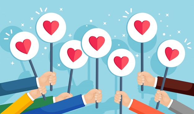 Gruppo di uomini d'affari con cartello cuore rosso. social media, rete