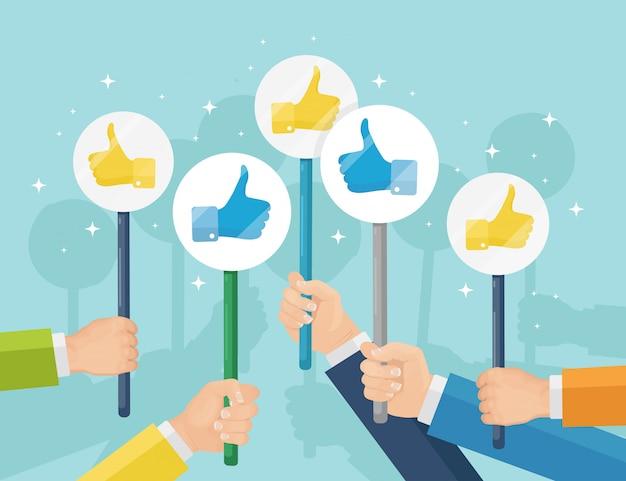 Gruppo di uomini d'affari con i pollici in su. social media. buona opinione. testimonianze, feedback, concetto di recensione del cliente. design piatto
