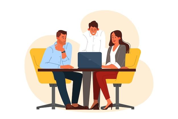 Gruppo di uomini d'affari al lavoro, riunione dell'ufficio. comunicazione professionale. illustrazione