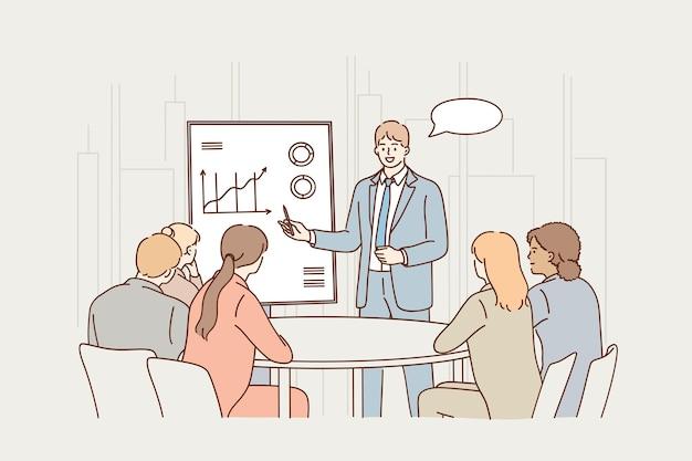 Gruppo di partner di lavoratori d'affari seduti in ufficio e ascoltando la presentazione del collega