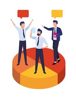 Gruppo di uomini d'affari lavoro di squadra nell'illustrazione di caratteri di torta di statistiche