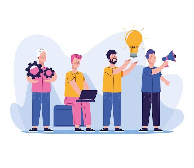 Gruppo di personaggi di lavoratori uomini d'affari
