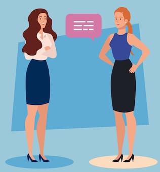 Gruppo di donne di affari con disegno dell'illustrazione della bolla di discorso