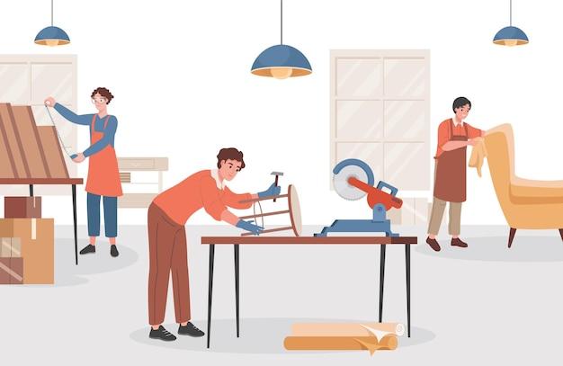 Gruppo di falegnami al laboratorio di legno che fa mobili