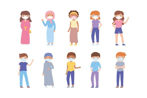 Gruppo di personaggi che indossano maschere mediche per prevenire le malattie