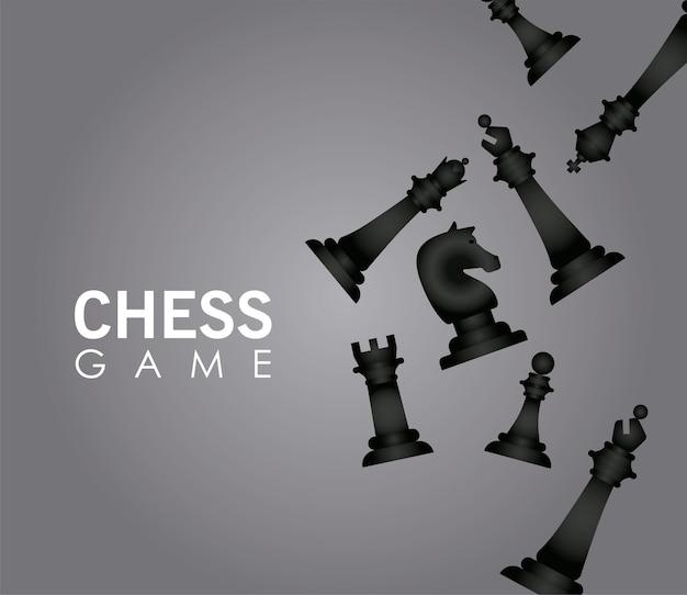 Il gruppo di pezzi di scacchi neri ha fissato il disegno dell'illustrazione di vettore
