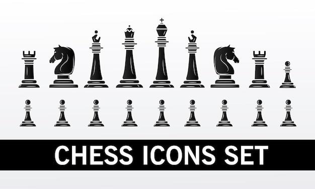 Gruppo di pezzi degli scacchi impostare icone