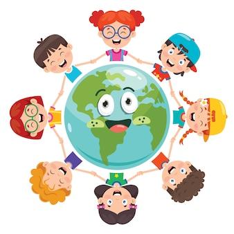 Gruppo di bambini che giocano sulla terra