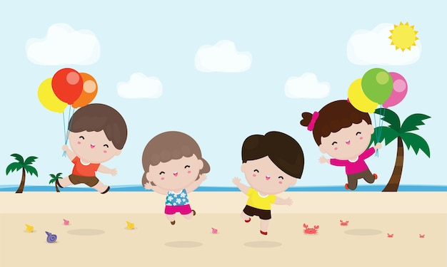 Gruppo di bambini che giocano e saltano sulla spiaggia