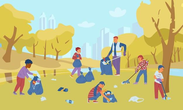 Gruppo di bambini volontari con un adulto che raccoglie spazzatura nel parco autunnale