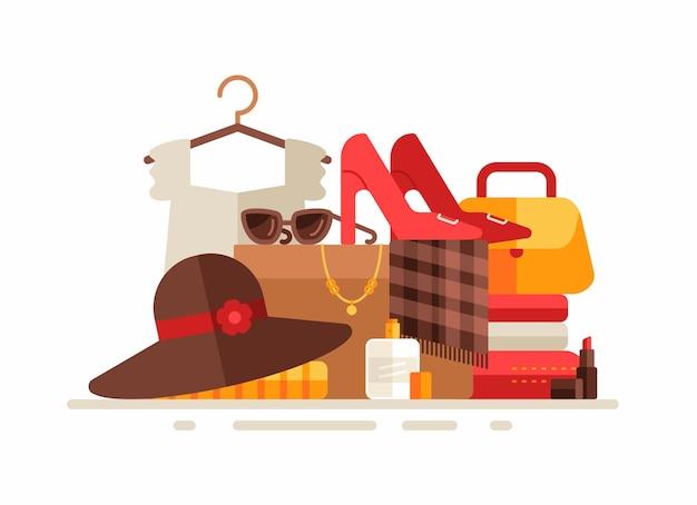 Gruppo di abbigliamento e accessori femminili. illustrazione piatta
