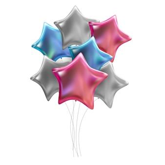Gruppo di palloncini di elio lucidi di colore isolati su priorità bassa bianca. illustrazione vettoriale eps10