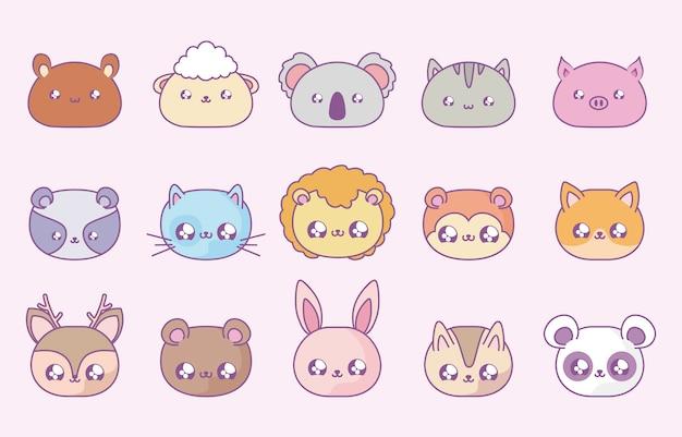 Gruppo di simpatici animali baby in stile kawaii