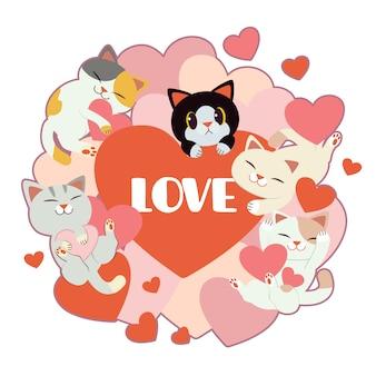 Gruppo di simpatici gatti e amici con molto cuore su bianco