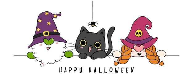 Gruppo di simpatici gnomi in una festa in costume di halloween, contorno disegnato a mano di scarabocchi di cartoni animati piatti