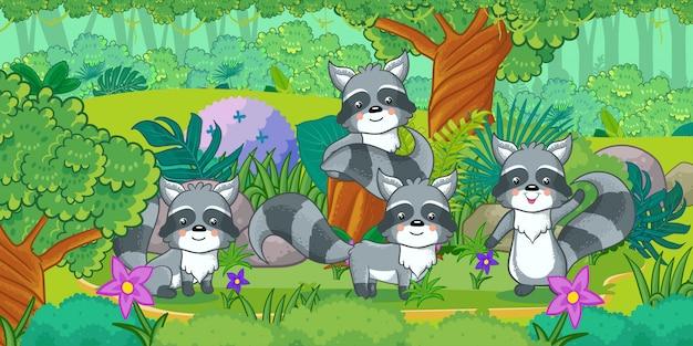 Un gruppo di procioni carini che si godono nella foresta