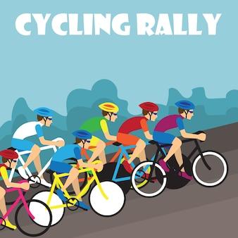 Gruppo di ciclista in gara professionale per evento di rally di bici