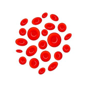 Gruppo di diversi eritrociti, globuli rossi su bianco