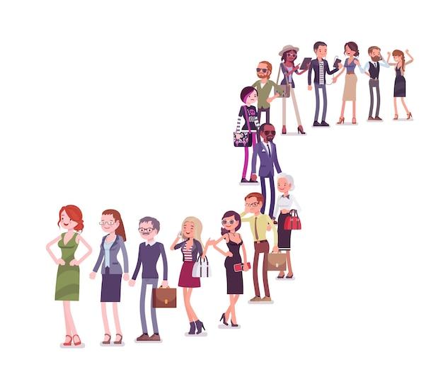 Gruppo di persone diverse in coda in una lunga fila. membri di diverse nazioni, sesso, età e lavori diversi stanno insieme in attesa. illustrazione del fumetto di stile piano vettoriale isolato su sfondo bianco