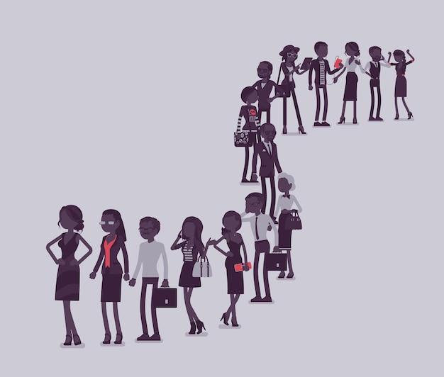 Gruppo di persone diverse in coda in una lunga fila