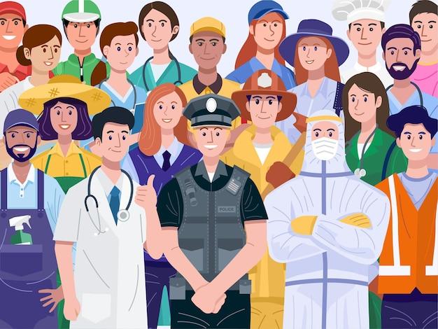 Gruppo di persone diverse con varie professioni.