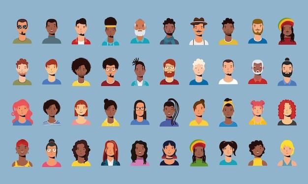 Gruppo di diversità persone caratteri vettore stile piatto design