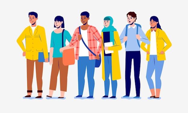 Gruppo di giovani studenti universitari di diversità in piedi indossando vari abiti casual casual