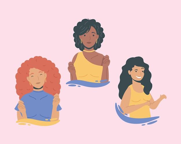 Diversità di gruppo personaggi di ragazze giovani