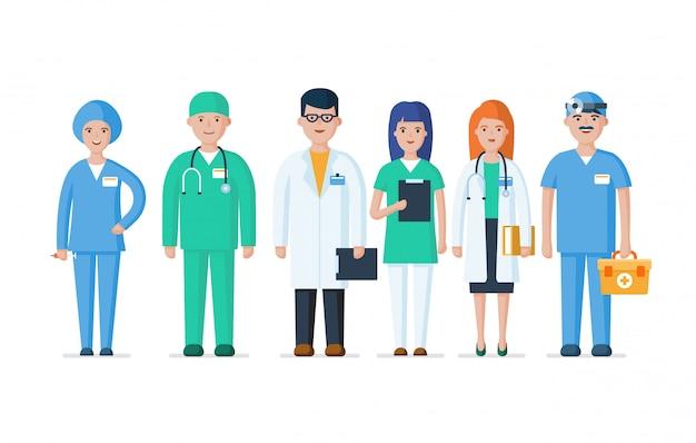Gruppo di medici, infermieri e altro personale ospedaliero. illustrazione piana di vettore dei caratteri dei medici